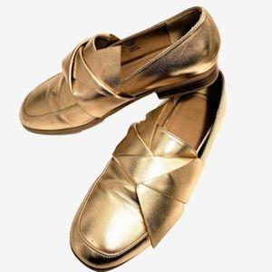 ASOS | Gold Metallic Slip On Flat Loafers